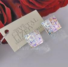 STERLING SILVER * STUDS EARRINGS WITH SWAROVSKI ELEMENTS CHESSBOARD WHITE PATINA