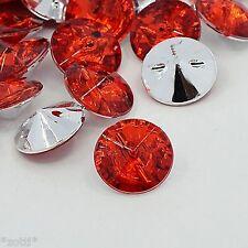 18 Rosso Acrilico Stass cristallo bottoni elegante bestseller 15 mm Cucire realizzerà #