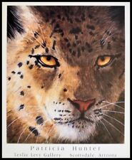 Patricia Hunter Snow Leopard Poster Kunstdruck im Alu Rahmen schwarz 71x56cm