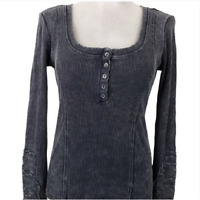 Others Follow Thermal Top Womens Sz S Gray Lace Sleeve Scoop Anthropologie L/S