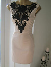 Lipsy Size 6 Nude Beige Black Lace Applique Bodycon Top Pencil Wiggle Dress