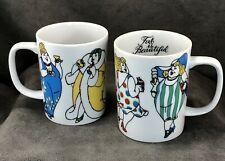 TWO Vintage Fitz & Floyd Variations Fat is Beautiful 8 oz Coffee Mugs Cup Japan