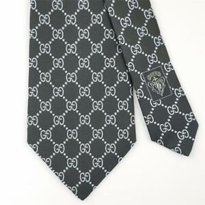 GUCCI TIE Light Blue GG Guccissima in Greenish Black Classic Woven Silk Necktie