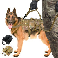 Tactical Dog Harness & Pouches &Leash K9 Working Military Dog Molle Vest M L XL