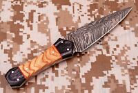 HAND FORGED DAMASCUS STEEL KNIFE W/ WOOD HANDLE Q-795