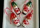 VTG 4 CHRISTMAS ORNAMENTS Bradford HAND DECORATED GLASS LITTLE SOLDIERS