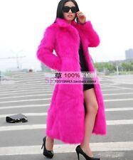 2017 New Ladies Slim Long Sleeve Faux Fur Windbreaker Full Length Coat Jacket UK
