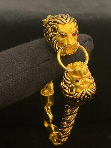 Classy Heavy Unisex Dubai Handmade Lion Bracelet In 916 Stamped 22K Yellow Gold