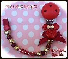 ❤ PERSONALISED Dummy Clip ❤ CHRISTMAS Colors Red/Gold Minnie ❤Your Name Choice❤