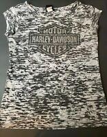 Harley  Davidson Women Camo Black and Gray Blouse T-shirt Med USA  Anaheim,CA