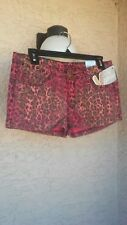 """AUTHENTIC """" V.I.P. JEANS"""" JR.WOMEN'S RED ANIMAL PRINT SHORTS SIZE 11/12"""