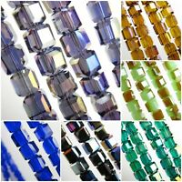 25pcs Cube Glass Crystal Loose Beads Spacer DIY Jewelry Making 8x8mm Charms