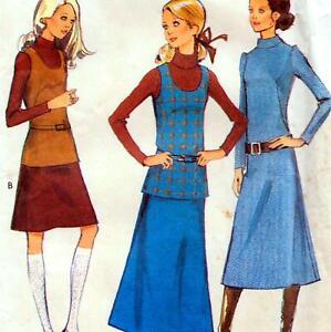 "Vintage 70s DRESS Top SKIRT Sewing Pattern Bust 34"" 87 cm Sz 10 RETRO Revival"