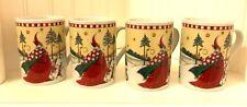 Mary Engelbreit Magic of Christmas Santa Elves 4 Mugs Minty Never Used