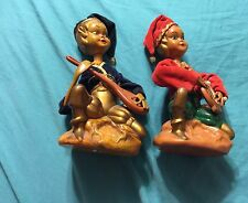 Lot Of 2 Vintage Elf Musical Instrument Plastic Christmas Red & Blue Decor