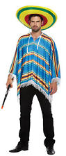 Adult Blue Poncho Costume - Fancy Dress Cowboy Bandit Stag Do Accessory Mexican