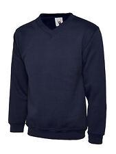 "5 X Uneek Premium V-neck Sweatshirt 300gsm Sweater Polycotton Jumper (uc204) Large 42"" - 44"" Navy"