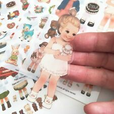 Dolly Girl PAPER DOLL MATE Dress Up Stickers Kawaii Vintage - Design 1 - Plastic