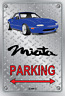 Parking Sign Metal Mazda MX5 Blue Enki - Checkerplate Look