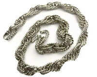 """Vintage Heavy Chunky Sterling Silver Rope Style Chain 15"""" Necklace  GIFT BOXED"""