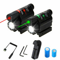 Tactical Flashlight Green/Red Laser Sight Scope Hunting Combo 20mm Rail Mount