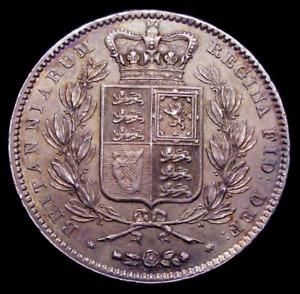 1845 EF/GEF Queen Victoria Crown. Cinq Stops on Edge CGS 60  AU58 - MS60