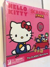 Hello Kitty Scrabble Junior Word Board Game New 100 Wood Tiles 2 Sided Game