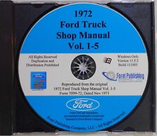 1972 FORD F-SERIES TRUCKS F100 F150 F250 F350 F800 SHOP SERVICE MANUAL ON CD