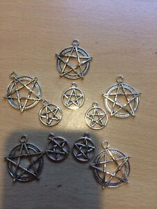 10  Silver Pentagram Charms 17mm And 28 Mm Wiccan Pagan