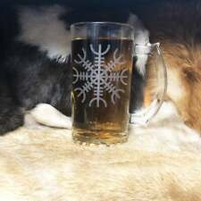 Set Of Four Helm Of Awe Design Viking Laser Engraved Beer Mug Glass