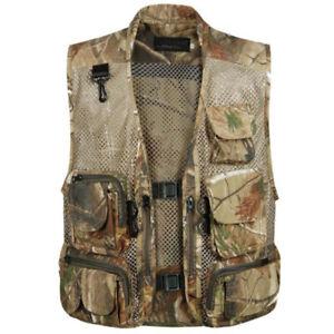 Men Utility Multi-Pocket Vest Waistcoat Outdoor Fishing Hunting Jacket Outerwear