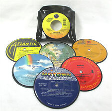 6 Recycled Record Drink Coasters with 45rpm Record Coaster Caddy Gift Set