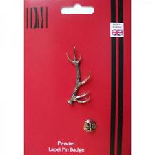 Red Stag Antler English Pewter Lapel Pin Badge Hunter Venison Present GIFT BOX