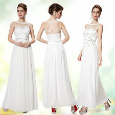 White Long Chiffon Wedding Ball Prom Gown Evening Party Dress 08189 Ever Pretty
