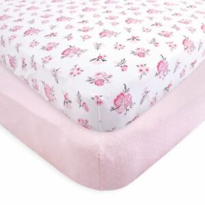 Hudson Baby Fitted Crib Sheets, 2-Pack, Pink Floral