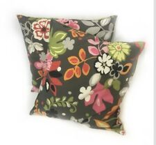 Pillow Throw Accent Boho Modern Floral Flower Gray Square Decor 19x19 $80 G