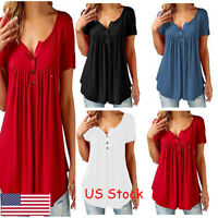 Womens Summer Tunic Tops Plus Size Casual Loose Tops Blouse Shirt T-Shirt US