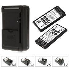 2x 1800mAh Li-ion Backup Battery + Wall Charger For Samsung S5 mini G870 SM-G800