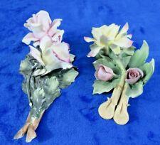 Italian made Capodimonte Porcelain Roses (lot of 2)