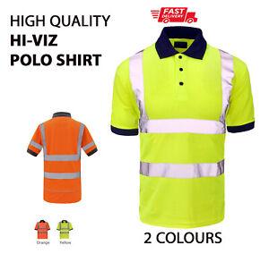 PLAIN NO TEXT Hi-Viz High Visibility POLO SHIRT Safety Work Wear Team Uniform P