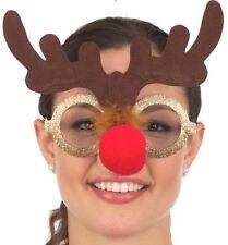 Gold Glitter Rudolph Reindeer Antler Glasses Christmas Xmas Costume Accessory