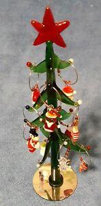 "Christmas Morning Art Green Glass Tree & 12 Piece Wine Charm Set 9""  with Box"
