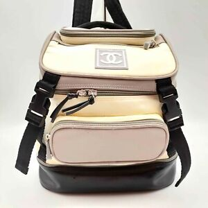 100% Authentic CHANEL Grey Sport Line CC Logo Multi-compartments Backpack Bag
