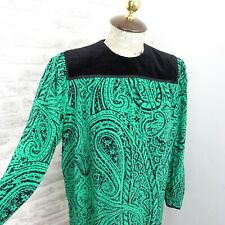 Vintage dress silk 80s paisley green black lined velvet trim secretary S/M D439