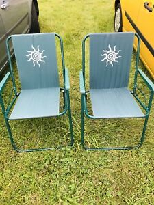 Vintage Sun Folding green and white camping Garden chairs