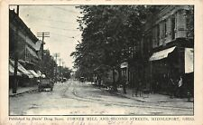 D26/ Middleport Meigs County Ohio Postcard 1908 Corner Mill and 2nd St Store