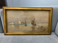 Antique Milner or Milney Signed Watercolor Seascape Painting