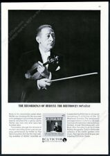 1963 Jascha Heifetz photo with violin Rca Victor Records vintage print ad
