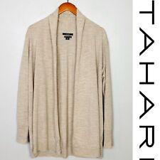 Tahari Plus Sized Merino Wool Cardigan Sweater Beige Oatmeal Open Front 1X