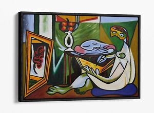PABLO PICASSO THE MUSE -FLOAT EFFECT CANVAS WALL ART PIC PRINT- GREEN BLUE